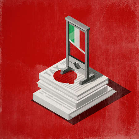 Guillotine with italian flag and blood on a pile of tax forms, financial crisis and taxation concept, 3D illustration