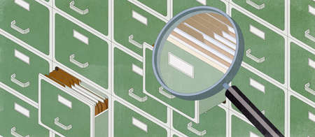 Isometric filing cabinets and business paperwork in the archive, a big loupe is searching for data, 3D illustration