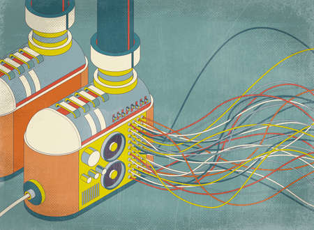 Funky shoes with stereo system in the wedge and sound wave, isometric 3D illustration Imagens