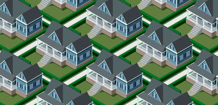 Real estate background with isometric luxury houses repeated, 3D illustration Imagens