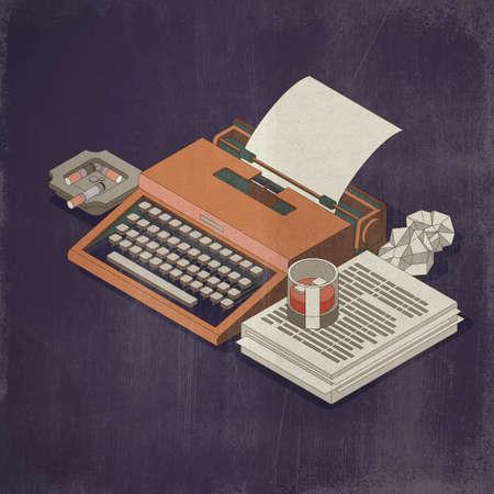 Vintage typewriter, drink and cigarettes: spy stories concept, 3D illustration Imagens