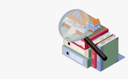 Big magnifier and house for sale on a pile of binder folders, real estate concept, 3D illustration
