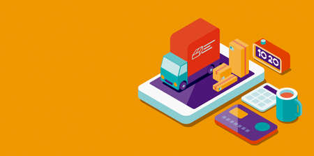 Online shopping app: delivery truck and parcels on a smartphone screen and credit card, 3D illustration Imagens