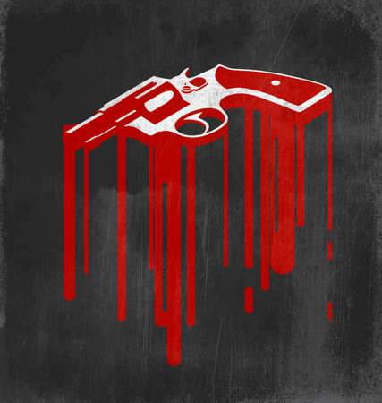 Revolver with blood stains: crime and noir movie concept