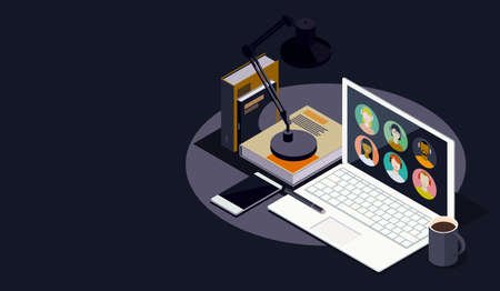 Online learning and innovative education: students connecting together online, student's desk with laptop, isometric 3D illustration Imagens