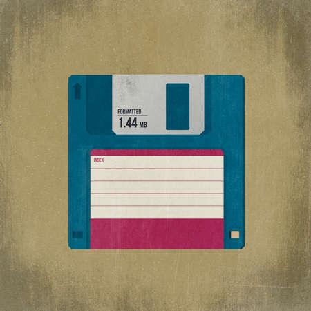 Vintage floppy disk illustration with blank label. 3D illustration
