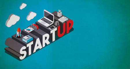 Start up and business innovation concept desktop with laptop and rocket, isometric 3D illustration with copy space