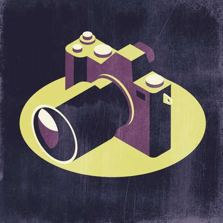 Isometric digital camera icon on dark background, 3D illustration