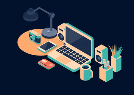 Office desk with laptop and credit card, online shopping concept, isometric 3D illustration
