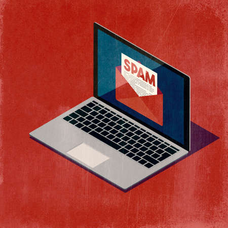 User receiving a spam email on the laptop, e-mail protection concept, 3D illustration Imagens