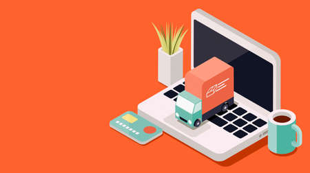 Online shopping and express delivery on a laptop: truck delivering your order at home, 3D illustration
