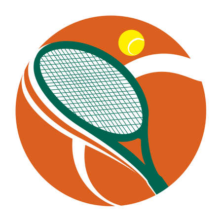 Tennis tournament icon with racket and ball: sports and competition concept