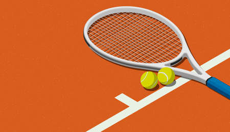 Tennis racket and balls on the court, tennis tournament concept Imagens