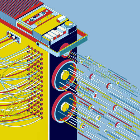 Pop style vintage music poster with amplifier and cassette player, 3D illustration