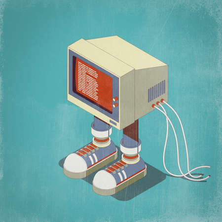 Funny vintage computer character with sneakers, isometric 3D illustration