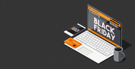 Black friday promotional sale and online shopping: black friday advertisement on a laptop screen, isometric 3D illustration Imagens