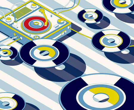 Vintage turntable and flying vinyl records, music and entertainment concept, 3D illustration