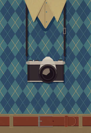 Photographer with a vintage reflex camera hanging around his neck Imagens