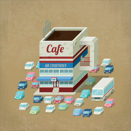 Cafe bar building shaped like a cup of coffee, cars and a bus parked around. 3D illustration