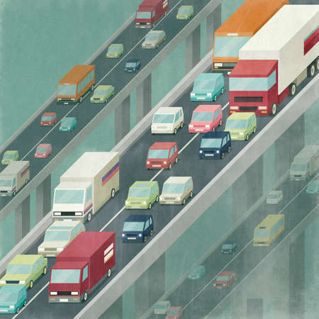Traffic jam on the highway, crowd of cars and trucks, infrastructure and pollution concept. 3D illustration