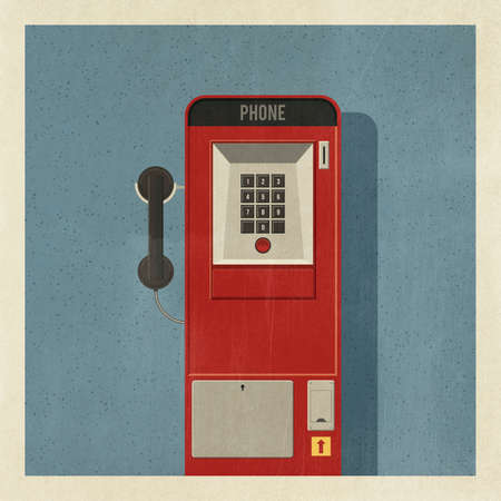 Vintage red pay phone with keypad and receiver