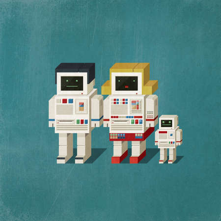 Cute vintage robot family composed of male, female and baby robot. 3D illustration Imagens