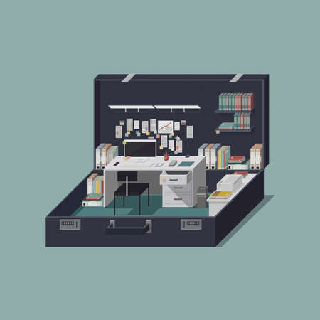 Portable tiny office in an open business briefcase 3D illustration