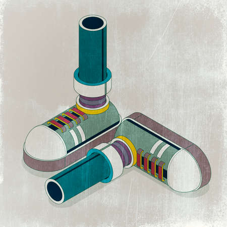 Isometric feet with fashion sneakers, isometric 3D illustration
