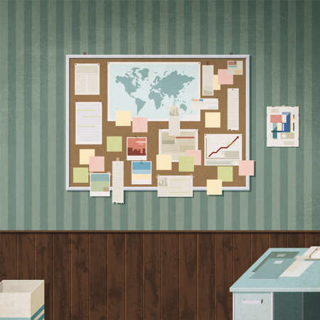 Vintage bulletin board hanging in the office with stick notes, world map, photos and paper notes 3D illustration