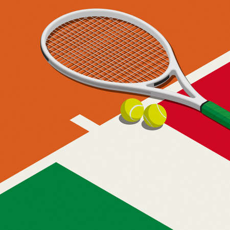 Tennis tournament: racket, balls and Italian flag, sports and competition concept
