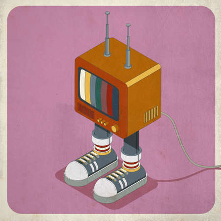 Funny vintage pop TV character with sneakers and antennas, 3D illustration