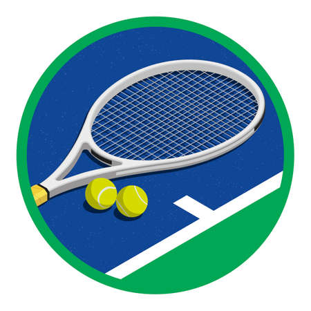 Tennis tournament symbol with racket and balls, sports and competition concept Imagens