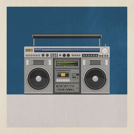 Vintage radio and cassette stereo player on blue background