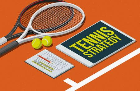 Tennis strategies and tactics: rackets, balls and digital tablet, 3D illustration Imagens