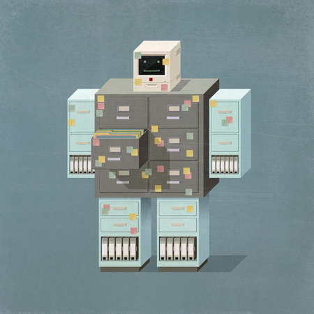 Smiling filing cabinet robot, his head is a vintage computer monitor, isometric illustration. 3D illustration