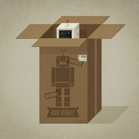 Vintage dangerous bad robot in its cardboard package, he is shy and peeking out from the box 3D illustration