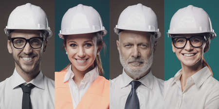 Confident workers wearing safety helmets and smiling at camera, photo collage