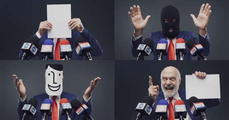 Corrupt politician expressions during his speech at the press conference, electoral campaign concept, photo collage