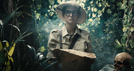 Scared explorer lost in the jungle: she is holding a map and looking at camera