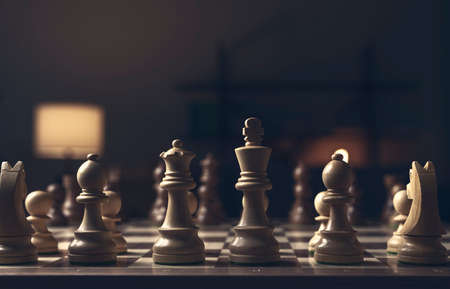 Chess pieces arranged on the chessboard, strategy games concept Stock Photo
