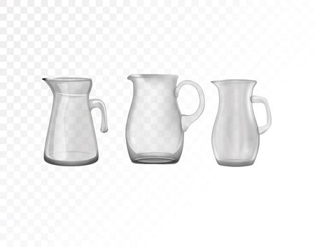 Glassware, jug. Decorative household items vector illustration.