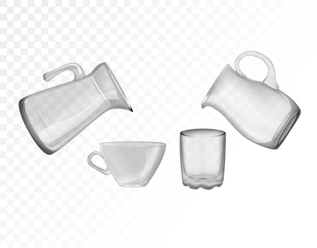 Glassware, jug, glass, cup. Decorative household items vector illustration.
