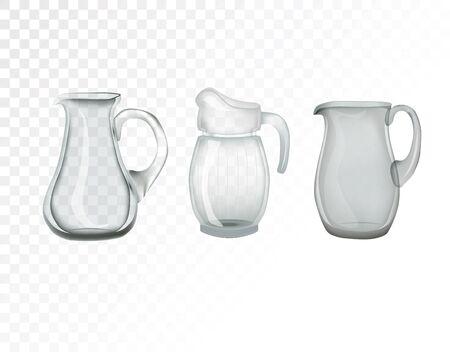 Glassware, jug. Decorative household items vector illustration.
