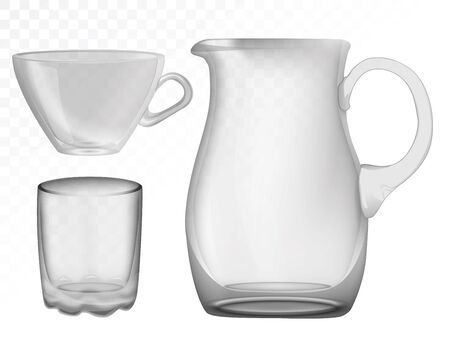 Glassware, jug, glass, cup Decorative household items Vector illustration