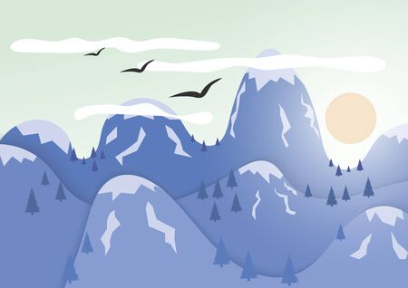Mountains with ice cap. The sun hides behind the mountains birds fly in the sky.
