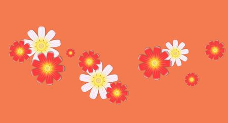 Delicate compositions of colors. Background for postcard or flyer. Illustration on a yellow red background Çizim