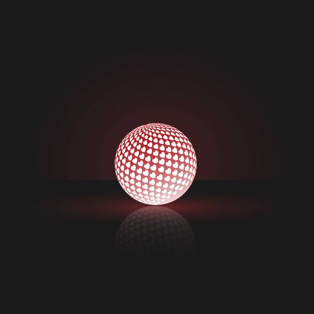 One glowing luminescent ball. On the ball painted hearts