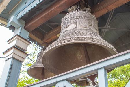 Church bells. A separate bell tower.