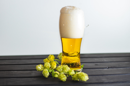 A glass with fresh beer poured with foam.