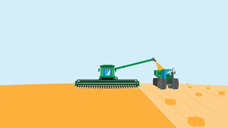 Vector illustration of agriculture with a combine harvester in the field. Harvest time. Harvesting grain plants.